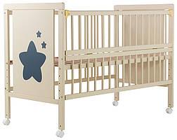 Ліжко Babyroom Зірочка Z-01 відкидний бік, колеса бук слонова кістка