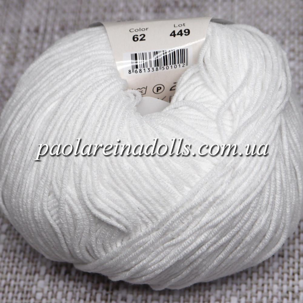 Пряжа ЯрнАрт Джинс YarnArt Jeans, колір №62 дуже білий