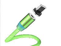 Магнитный кабель Uslion IOS для быстрой зарядки светящийся Lightning Зеленый