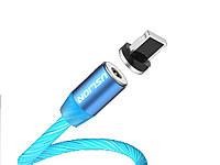 Магнитный кабель Uslion IOS для быстрой зарядки светящийся Lightning Синий