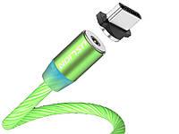 Магнитный кабель Uslion Для быстрой зарядки светящийся Type C Зеленый