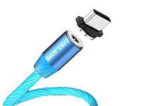 Магнитный кабель Uslion Для быстрой зарядки светящийся Type C Синий