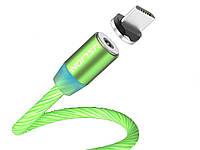 Магнитный кабель Uslion Для быстрой зарядки светящийся Micro USB Зеленый