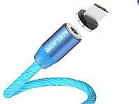 Магнитный кабель Uslion Для быстрой зарядки светящийся Micro USB Синий