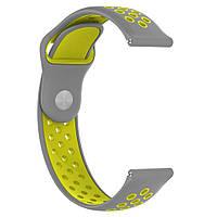 Ремешок BeWatch sport-style для Samsung Galaxy Watch 42 мм Серо-Желтый (1010146.2)