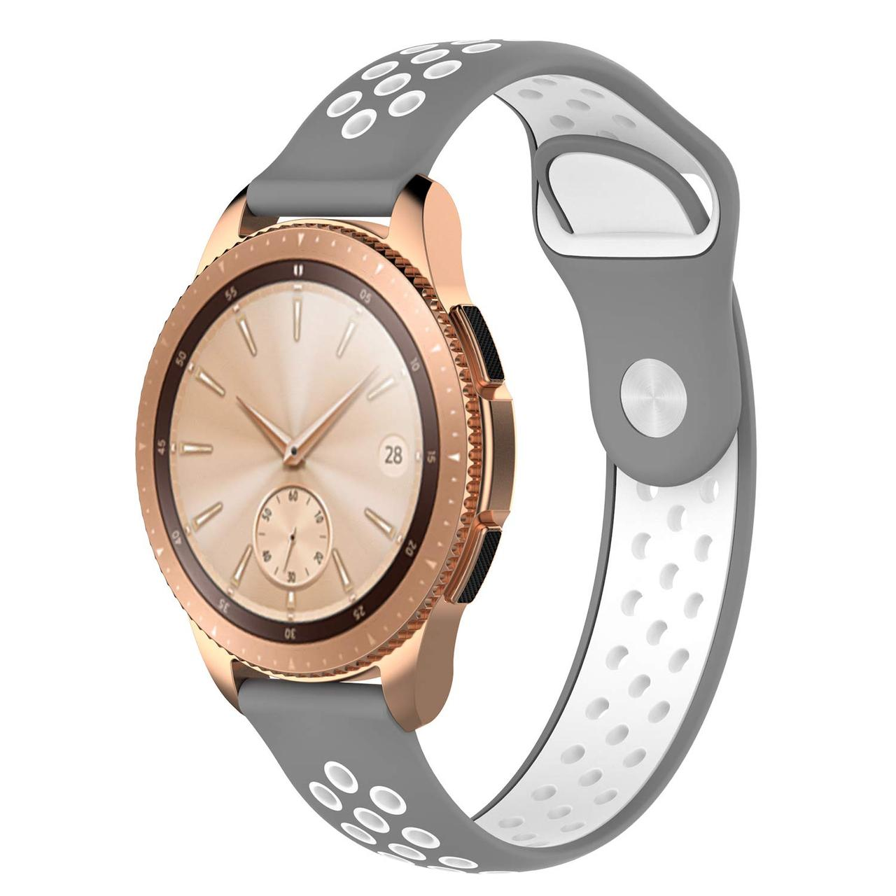 Ремешок BeWatch sport-style для Samsung Galaxy Watch 42 мм Серо-Белый (1010142.2)