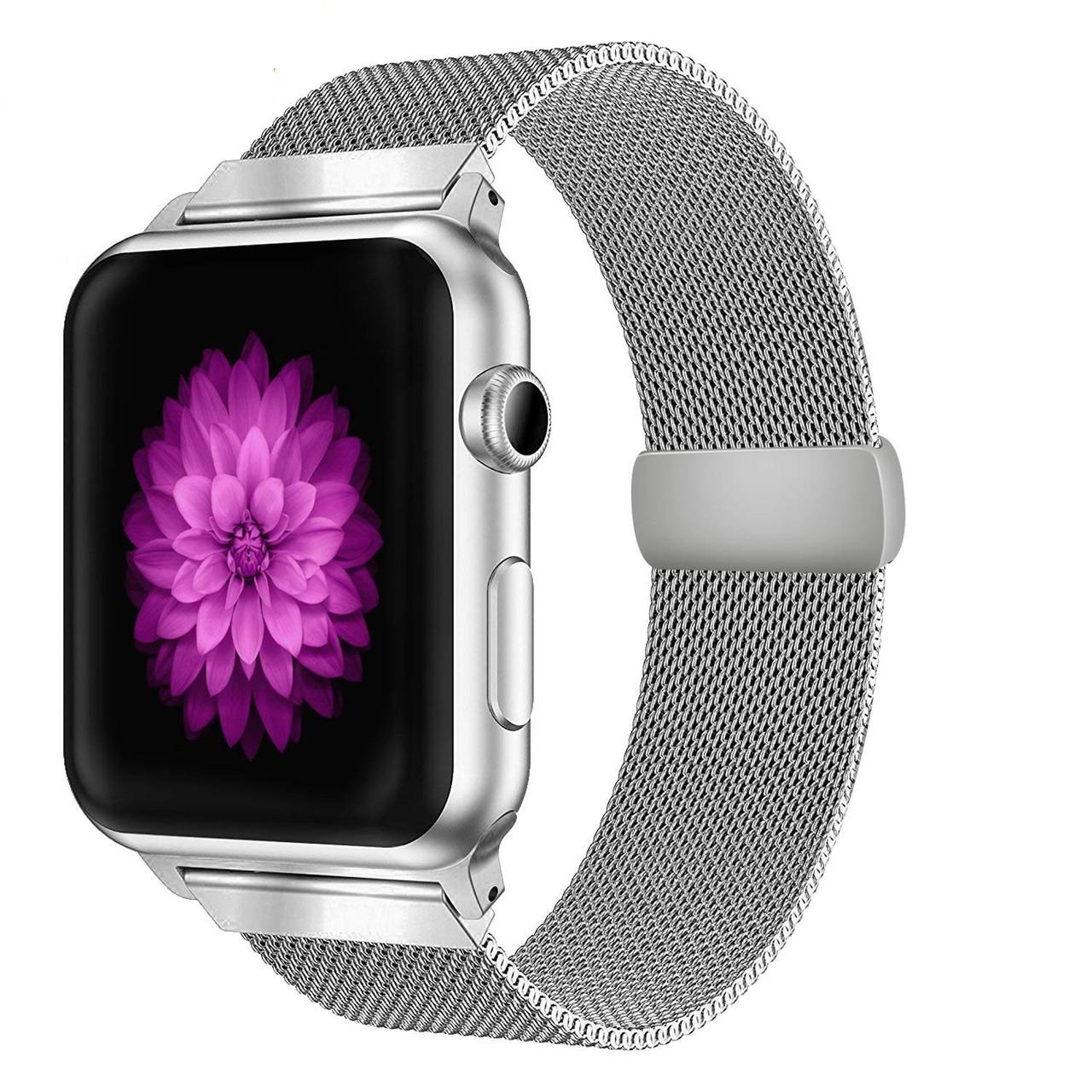 Ремешок BeWatch миланская петля для Apple Watch 38 мм Серебристый (1050218)