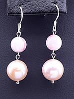 Серьги розовый Жемчуг Серебро(925) натуральный камень