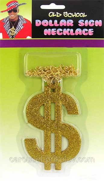 Значок доллара золотой на цепочке
