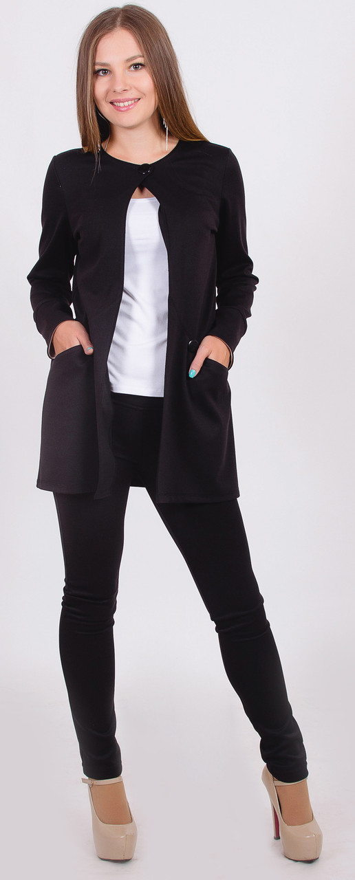 Пиджак женский удлиненный черный
