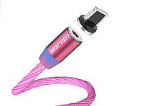 Магнітний кабель Uslion IOS для швидкої зарядки світиться Lighting Червоний