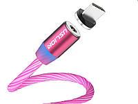 Магнітний кабель Uslion Для швидкої зарядки світиться Micro USB Червоний