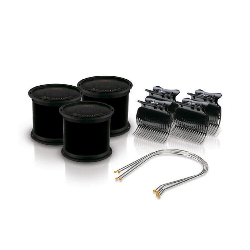 Электробигуди Diva, черные, бигуди+шпильки+зажимы, 64мм (D426)