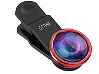 Набір з 3 лінз GETIHU для смартфонів Fisheye Lens Wide Lens і Marco Lens  Червоний
