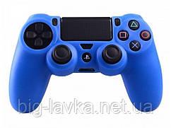 Силиконовый чехол для геймпада DualShock 4 (PS4) противоскользящий  Синий