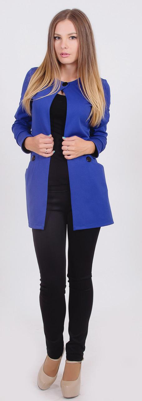 Пиджак женский удлиненный синий