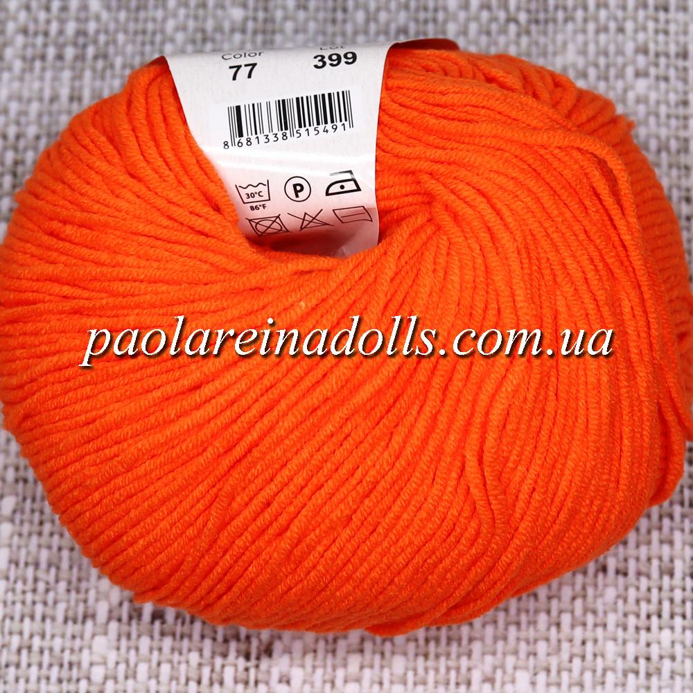 Пряжа ЯрнАрт Джинс YarnArt Jeans, цвет №77 апельсин яркий