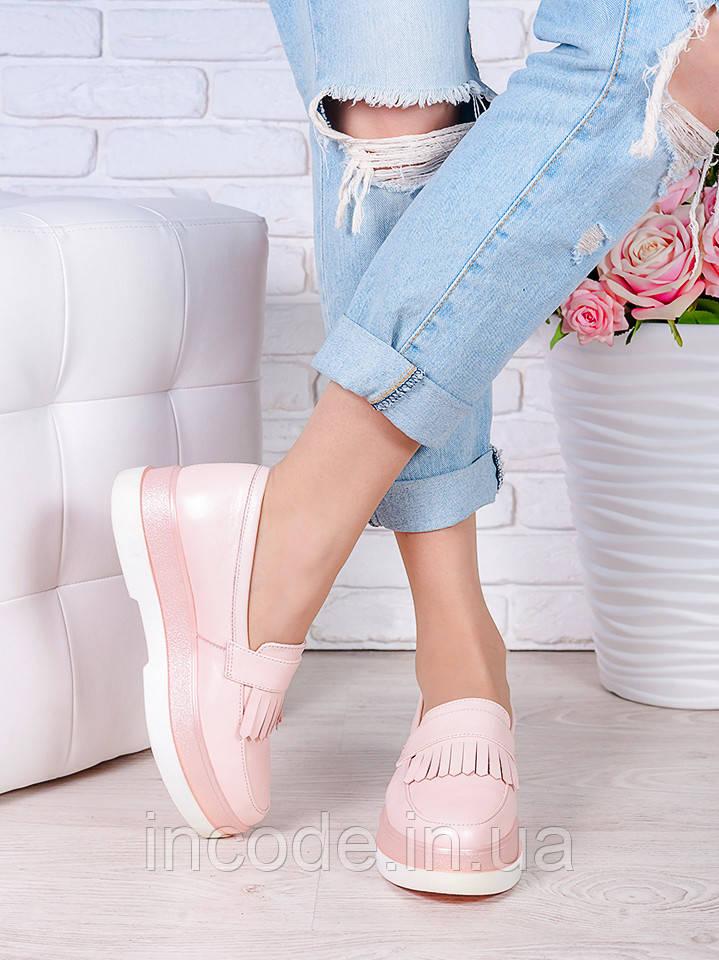 Туфлі лофери шкіра Maxi пудра 7006-28