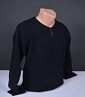 Мужской свитер  Vip Stendo черный | пуловер с пуговицами Турция 065