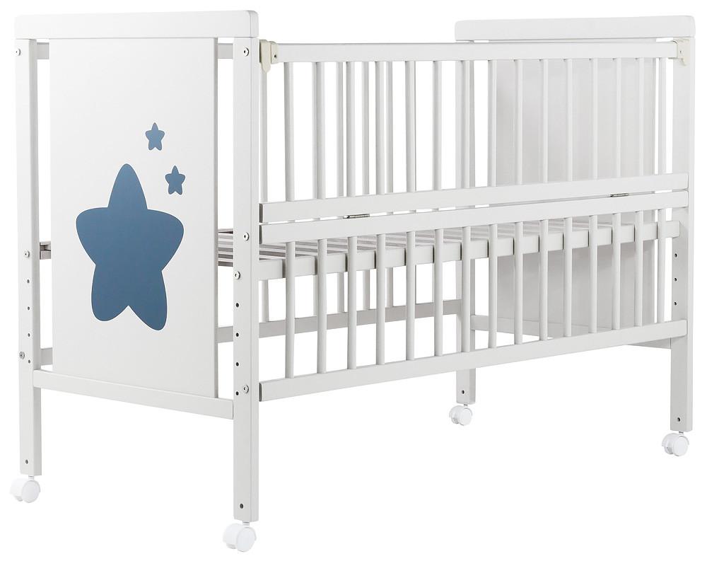Кровать Babyroom Звездочка, откидной бок, колеса  бук белый