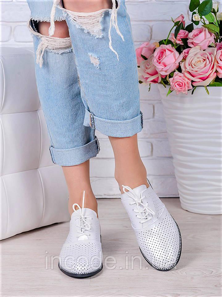 Туфли кожаные молоко (лето) Эвелин 7013-28