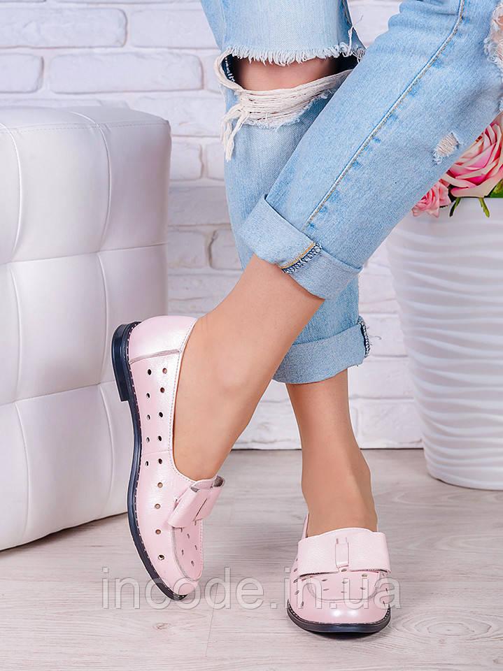 Туфли пудра кожаные Bant (лето) 7037-28