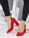Туфлі на каблуці  червона замша 7244-28, фото 3