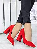 Туфлі на каблуці  червона замша 7244-28, фото 4