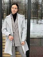 Пальто  демисезонное с хлястиком светло серое  Sifurs П1-Д-Х-СВСЕР