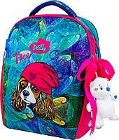 Ортопедический рюкзак (ранец) в школу с мешком и пеналом бирюзовый для девочек Delune с Собакой для 1-4 класса