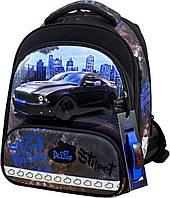 Ортопедический рюкзак (ранец) в школу с пеналом и мешком черный для мальчика Delune с Машиной для начальной