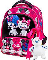 Школьный рюкзак (ранец) с ортопедической спинкой с пеналом для девочки Delune с Котами для младшей школы