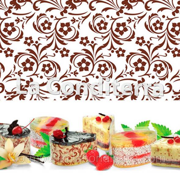 Бордюрная лента для тортов с орнаментом «Цветы» (h=40 мм), в рулоне 100 м