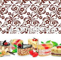 Бордюрная лента для тортов с орнаментом «Цветы» (h=40 мм), в рулоне 100 м, фото 1