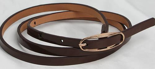 Женский лаковый  узкий поясок ремень 2239 коричневый ДхШ: 102х0,9 см.