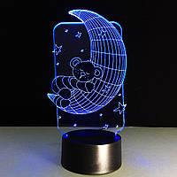 3D Светильник ✨Мишка на луне✨, 1 светильник - 7 цветов света. Необычный подарок ребенку