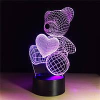 3D Светильник ✨Любимый мишка✨, 1 светильник - 7 цветов света. Необычный подарок девочке