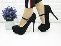 Туфли женские на шпильке черные 1067