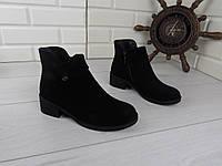 """Ботинки, ботильоны, черные""""Ellari"""" НАТУРАЛЬНАЯ ЗАМША, демисезонная, качественная, повседневная женская обувь"""