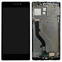 Дисплейный модуль (дисплей + сенсор) для Lenovo Vibe X2, со средней частью, черный, оригинал