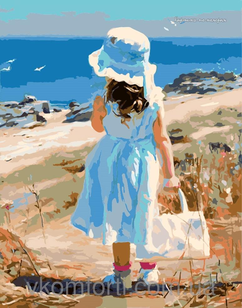 Картина-раскраска Menglei Девочка на море