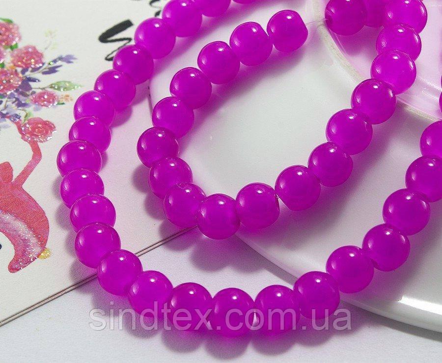 Бусины стеклянные Ø6мм, упаковка  100шт, цвет - Фуксия полупрозрачная (сп7нг-1161)