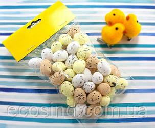 (50шт) Яйца из пенопласта 25х18мм, пасхальный декор Цвет - МИКС (сп7нг-4237)