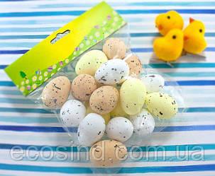 (17шт) Яйца из пенопласта 40х27мм, пасхальный декор Цвет - МИКС (сп7нг-4235)