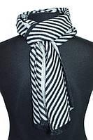 Стильный черно-белый кашемировый мужской шарф в полоску BRO, фото 1