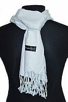 Легкий белый однотонный мужской шарф ROB
