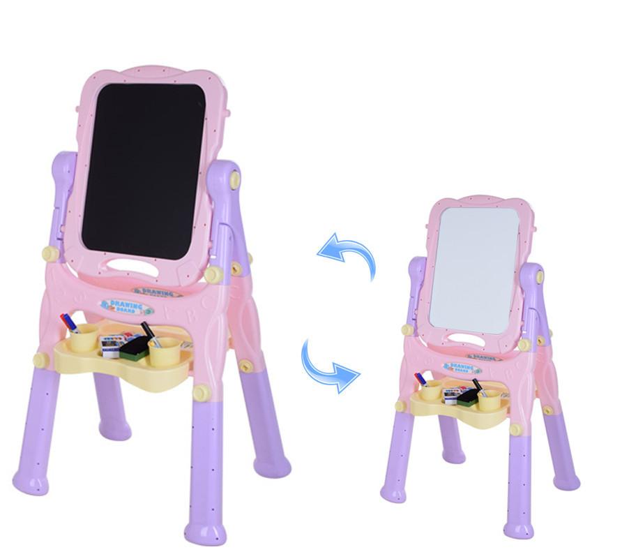 Мольберт двосторонній дитячий магнітна дошка для малювання рожевий