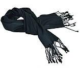 Легкий черный однотонный мужской шарф ROB, фото 2