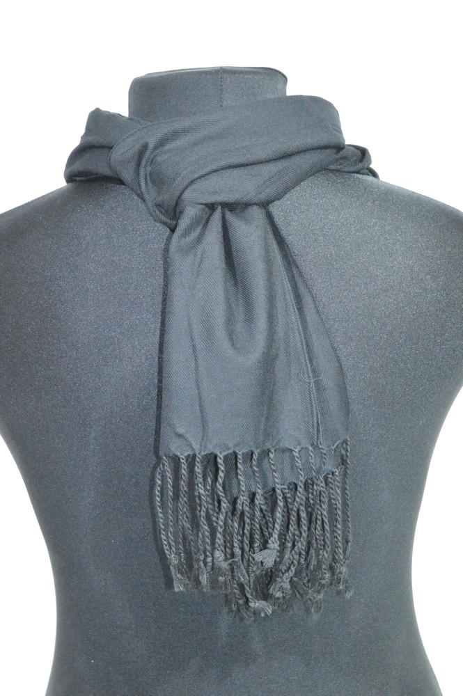 Легкий черный однотонный мужской шарф ROB