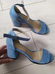 Босоножки замшевые голубые на устойчивом каблуке, 37 размер